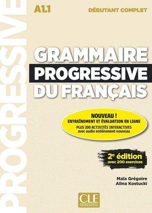 GRAMMAIRE PROGRESSIVE DU FRANÇAIS - NIVEAU DÉBUTANT COMPLET A1.1 - LIVRE+CD - 2º