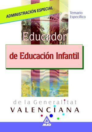 EDUCADOR INFANTIL DE LA GENERALITAT DE VALENCIA. TEMARIO